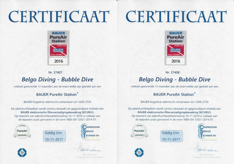 Certificaten PureAir 2016-2017