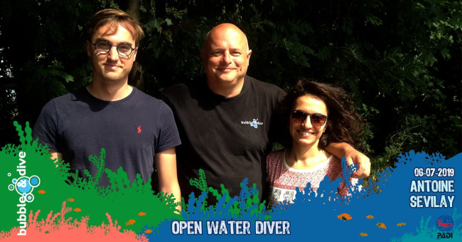 Congratulations to Antoine and sevilay for completing the PADI Open water Diver Course with Bubble and Dive, Ghent
