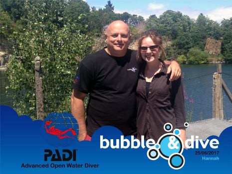 Congratulations Hannah for becoming a  PADI Advanced Open Water Diver!