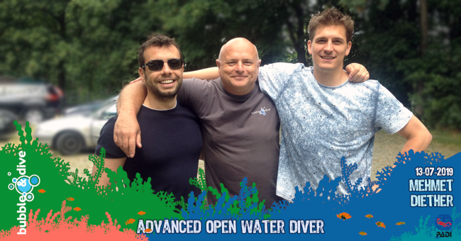 Congratulations to Mehmet and Diether for completing the PADI Advanced Open water Diver Course with Bubble and Dive, Ghent