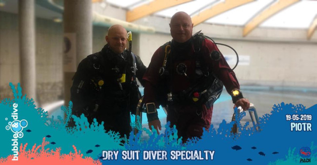 Congratulations to Piotr for completing the PADI Dry Suit Speciality Course with Bubble and Dive, Ghent